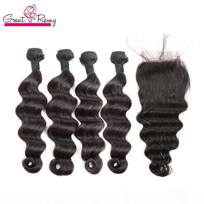 """Las extensiones de pelo peruano 4Bundles suelta la onda profunda con nudos blanqueados Cierre cordón de 4 """"x 4"""" un postizo de cabello humano encierro de la tapa Dyeable"""