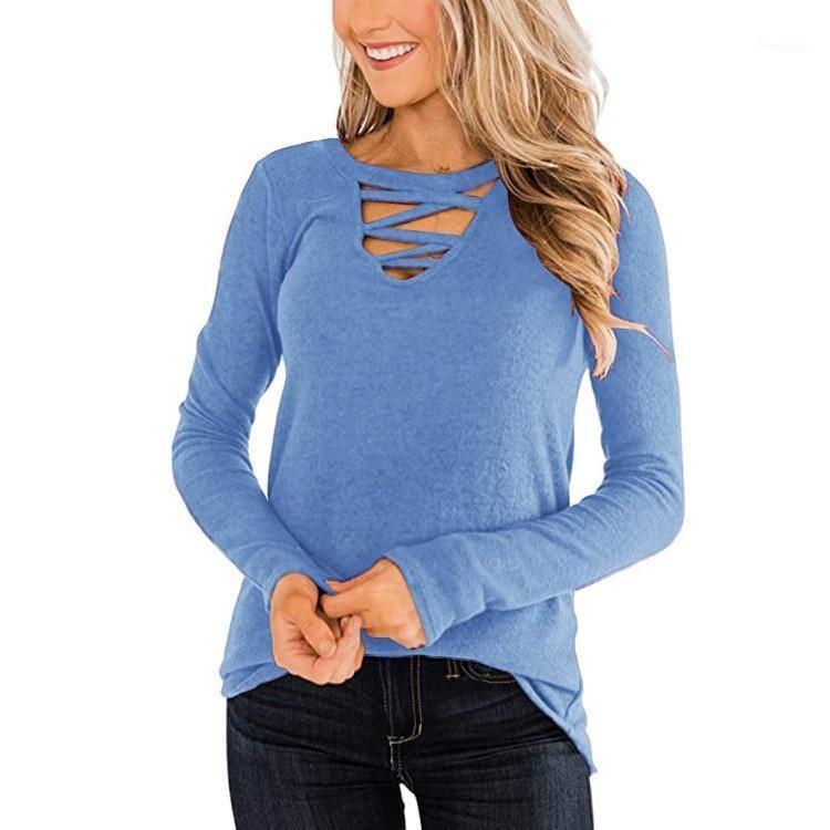 Мода Полая блузка рубашка Свободные V-образные вырезывания Дворян Топ Повседневная Осень Зимние Топы Дамы Женские Женщины Длинные Рукава Blusas Pullover1