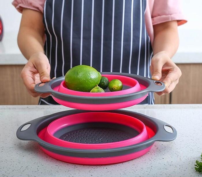 Kreative Küche-Wanne Runde Folding Teleskop Silikon Obst Trash Debris Storage Baskets ablassen Basket Waschkorb Meer Versand HHA2109