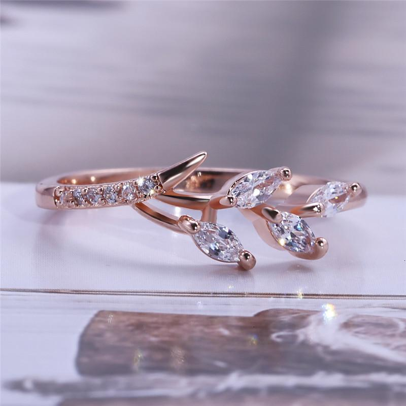 High Shape Zircon Cubic New Rings Leaf Quality Band Finger Wedding Ring For Women Fashion Jewelry Party Gifts Wholesale