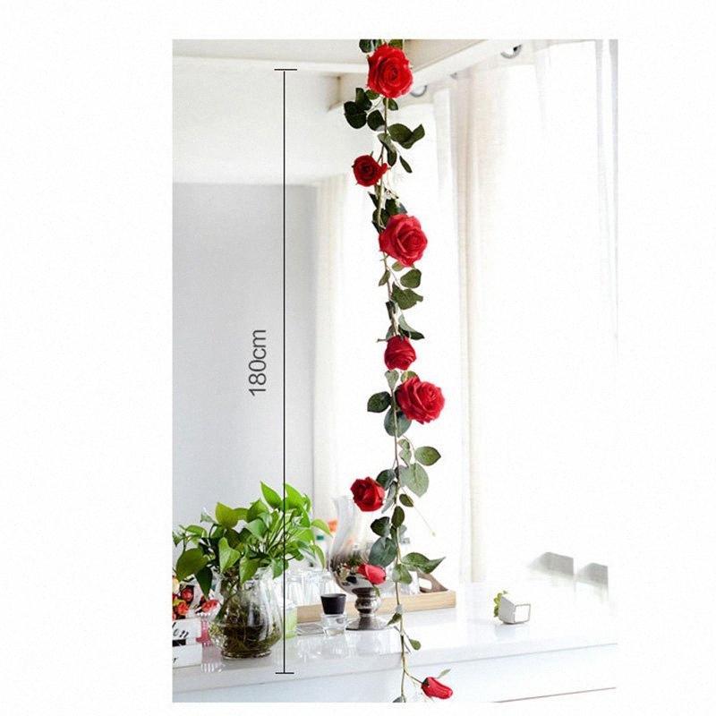 Gefälschte Rosen-Rebe-künstliche Blumen hängend Rose Home Hotel Büro Hochzeit Garten Craft Kunst-Dekor @LS 44vM #