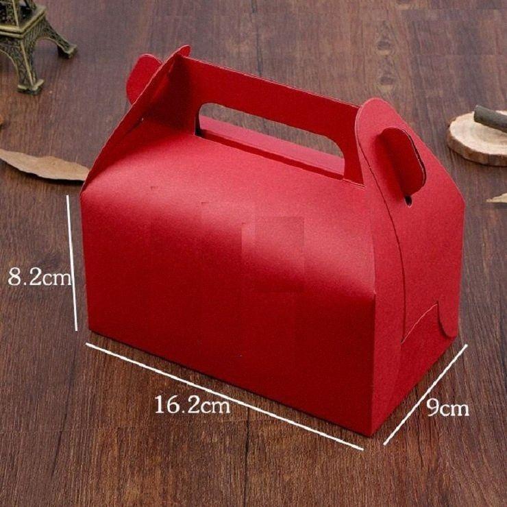 caja de la torta del papel 20pcs rojo con las cajas del favor de banquete de boda mango de caja de embalaje de regalo hecho a mano rojo galletas cajas para muffins # Jonc