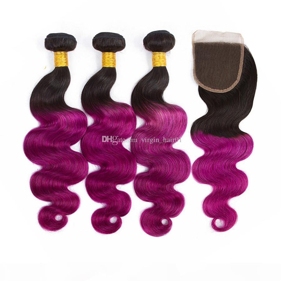 Ombre Púrpura Paquete de cabello humano con cierre de encaje ola corporal Cierre de encaje Púrpura Raíz oscura Pelo virgen brasileño 4pcs Lot