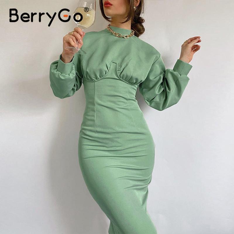 Berrygo Palace Style Winter Elegant Long Sleeve Collar Retro High Waist Casual Women's Dress 2020 New