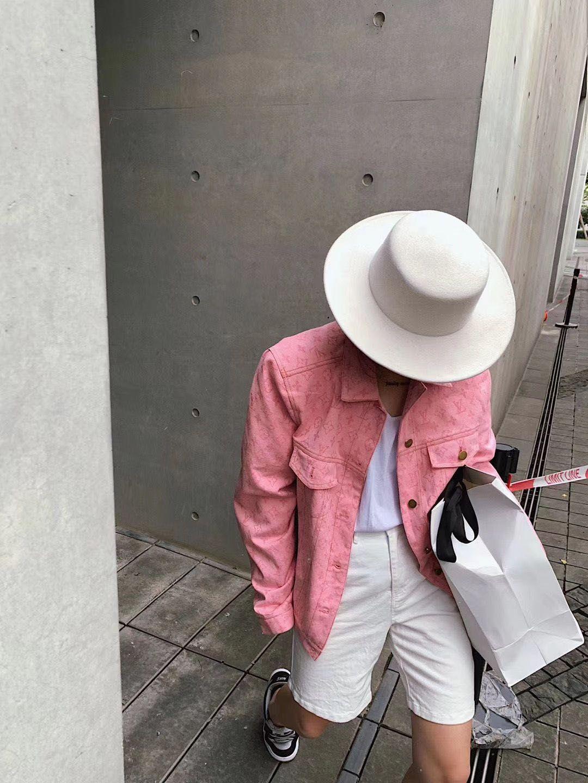 Персик розовых джинсовая куртка 2020 весной и осенью новый полные печати и старый жаккард куртка верхней свободная пара случайно в том же стиле