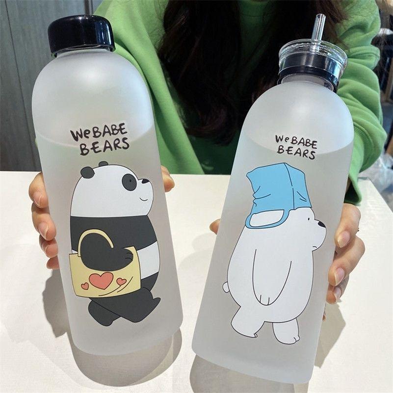 1000 ml patrón de oso transparente botella de plástico dibujos animados botellas de agua heladas a prueba de fugas panda polar oso marrón taza 201221