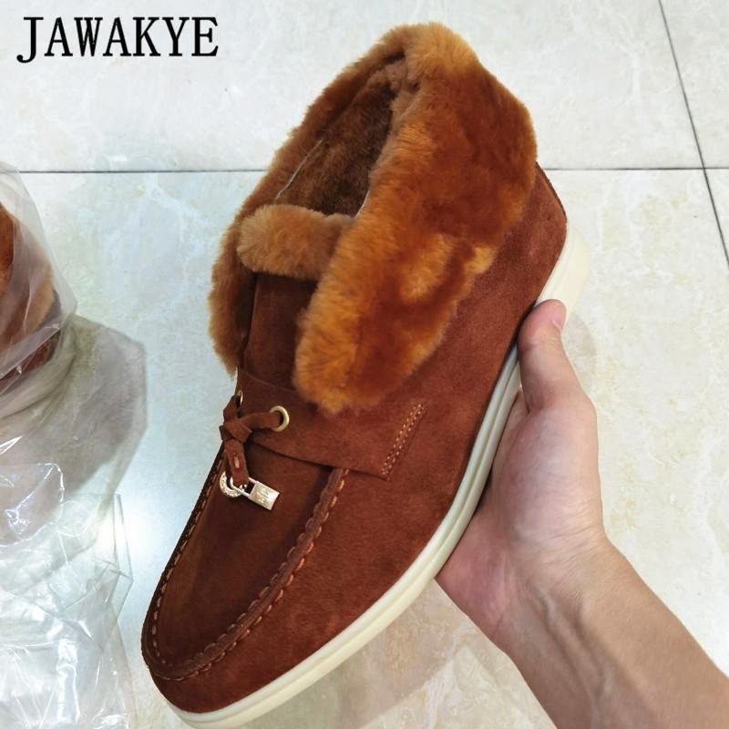 Cuello de lana de flot mujer botas de metal cerradura franja de invierno zapatos planos de gamuza de gamuza de gamuza en botas peludas luxe a pie abierto botas mujer