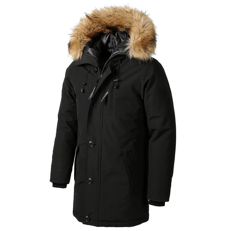 Pelz-Kragen Lange Baumwolle Daunenjacke mit Kapuze Taschen plus Samt dicke wasserdichte Jacke Parka Männer Mantel-Winter