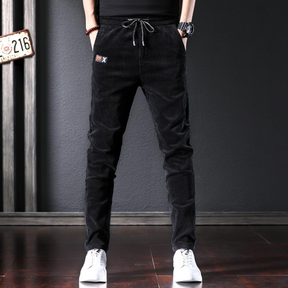 2021 New Autumn Newly Designer Fashion Men Jeans Korean Style Elastic Slim Fit Casual Corduroy Pencil Pants Winter Velvet Warm Trousers Rpap