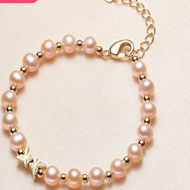 Aiyanishi 14K Gold наполненный многослойным браслетом 6-8 мм натуральный пресноводный овальный жемчуг моды браслет женские браслеты ювелирные изделия горячие продажи
