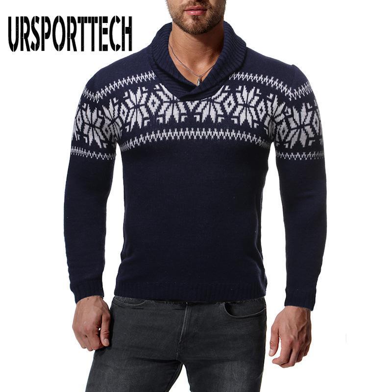 URSPORTTECH Turtelneck Weihnachten Pullover Herren Pullover Pullover Herbst beiläufige Printed Strickpullis Street Langarm-Pull