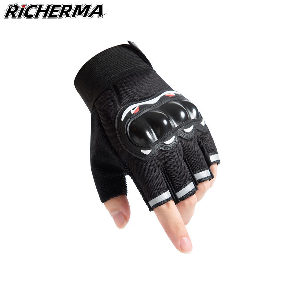 Fingerless Motorrad-Handschuhe harter Knöchel-Frauen-Mann-Mesh-Schutz Tactical Military Moto Reitsport Motorrad Auto-Arbeits
