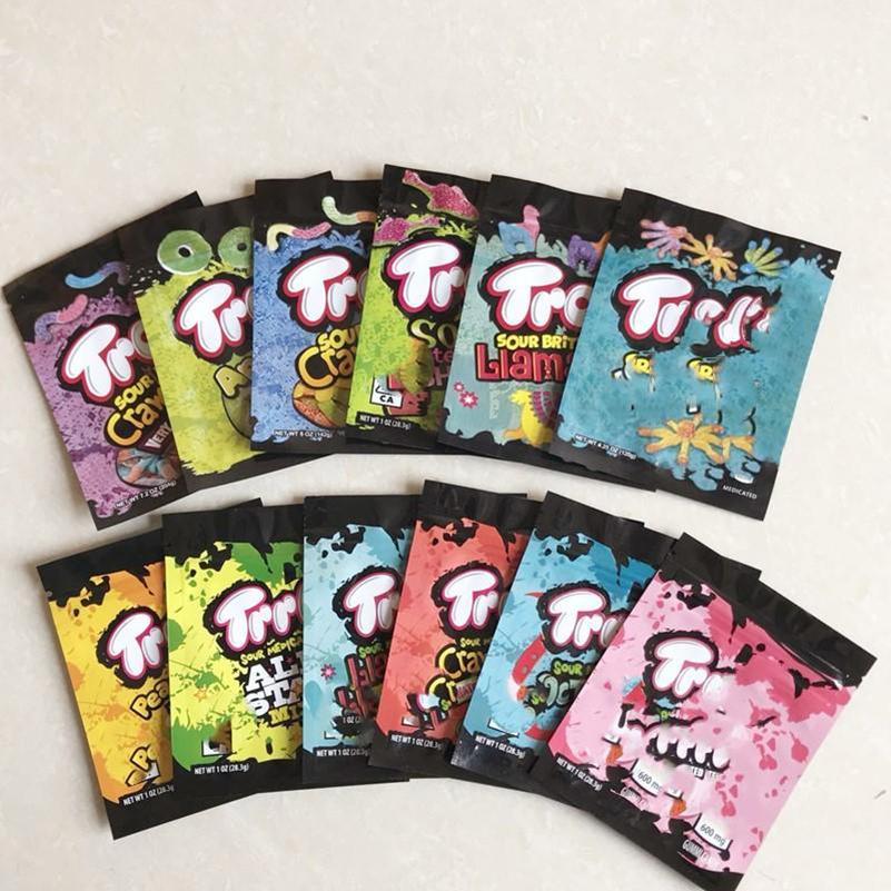 12 Türleri Yeni Sıcak İlaçlı Mylar Çanta Trolli Trrlli Errlli Edibaz Gummies Ambalaj Koku Geçirir Kapanabilir Fermuar Kılıfı 600 mg Özel Logo