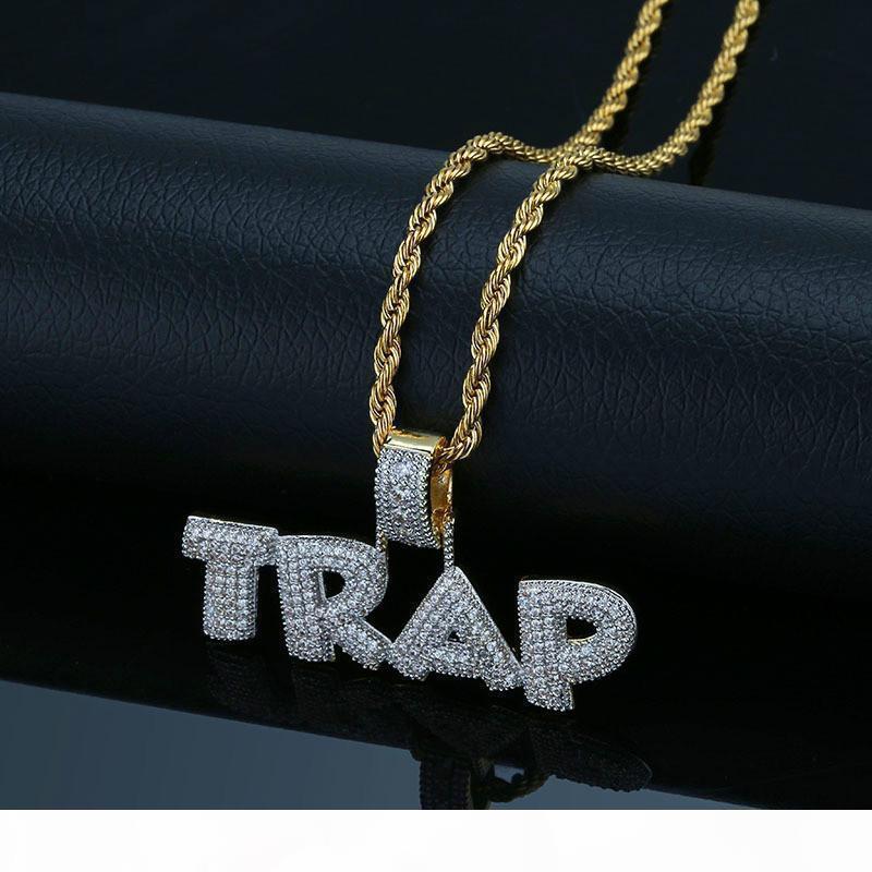 Harf TUZAK kolye kolye İçin Erkekler 2019 Yeni Moda Müzik Charm Hip Hop Takı Buz Taşlı Hiphop Altın Kolye Bling Out