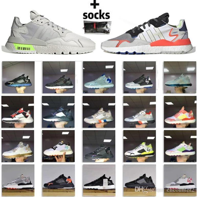 Novo Design Nite Jogger 3M Reflexivo Run Shoes Mens Mulheres Triple Black Sapatilhas Branco Rosa Respirável Tênis Trainer Esportes Atletismo