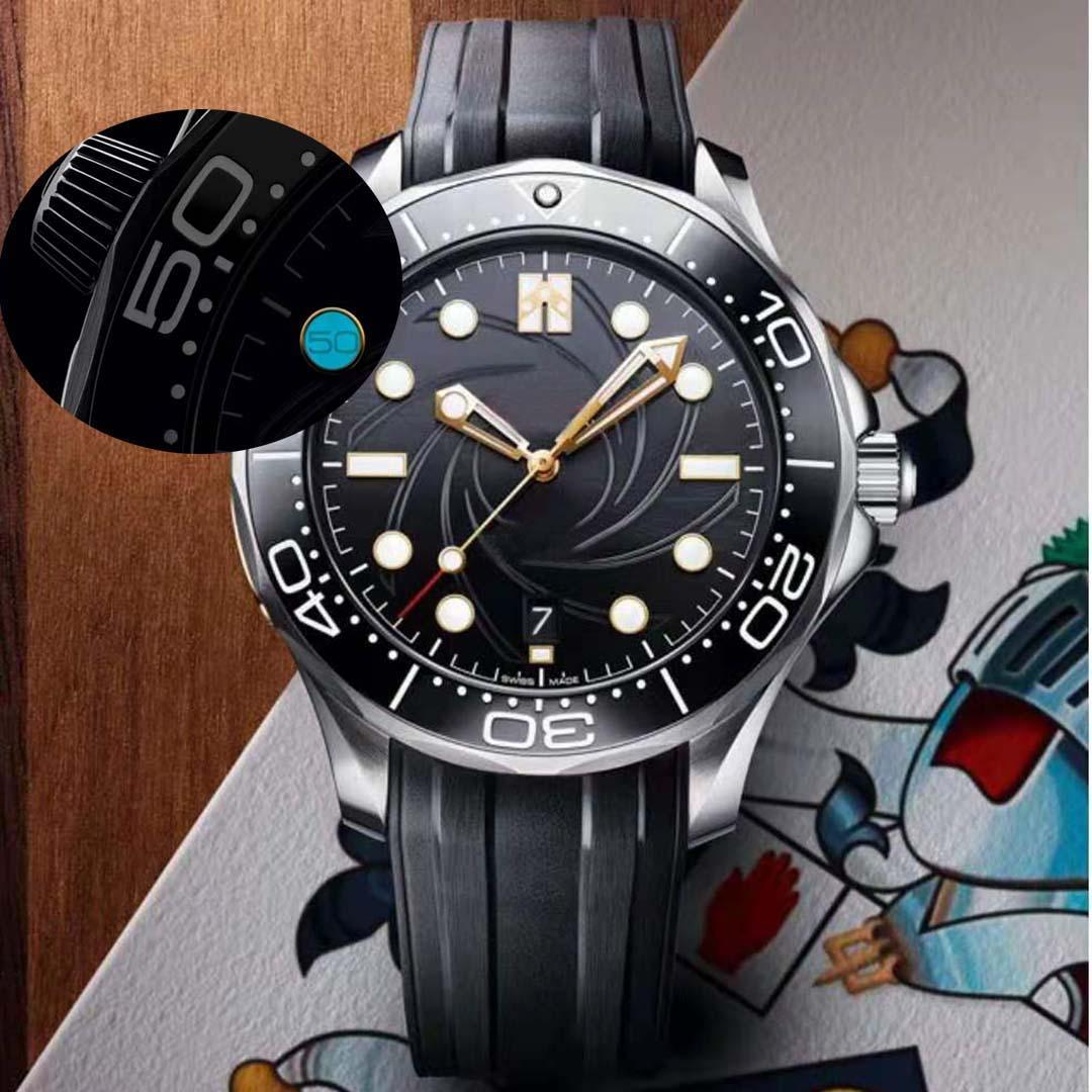 Mens Ceramic Limited Edition 10 Uhr mit 50 Wörtern Männer Uhr automatische Uhren Bewegung Mechanical Oreologio Montre de Luxe James Bond 007 Sky Fall 300m Armbanduhren