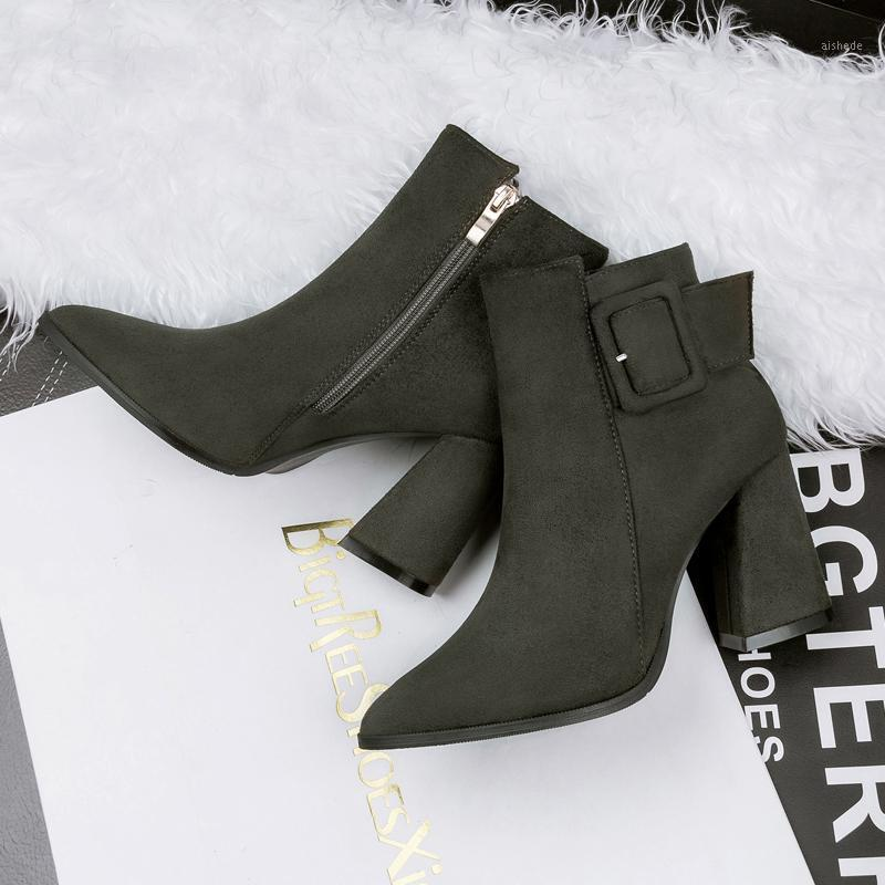Stivali invernali donne peluche signora 8cm tacchi alti corto caviglia femmina verde puntina fibbia fibbia chunky nightclub shoes1
