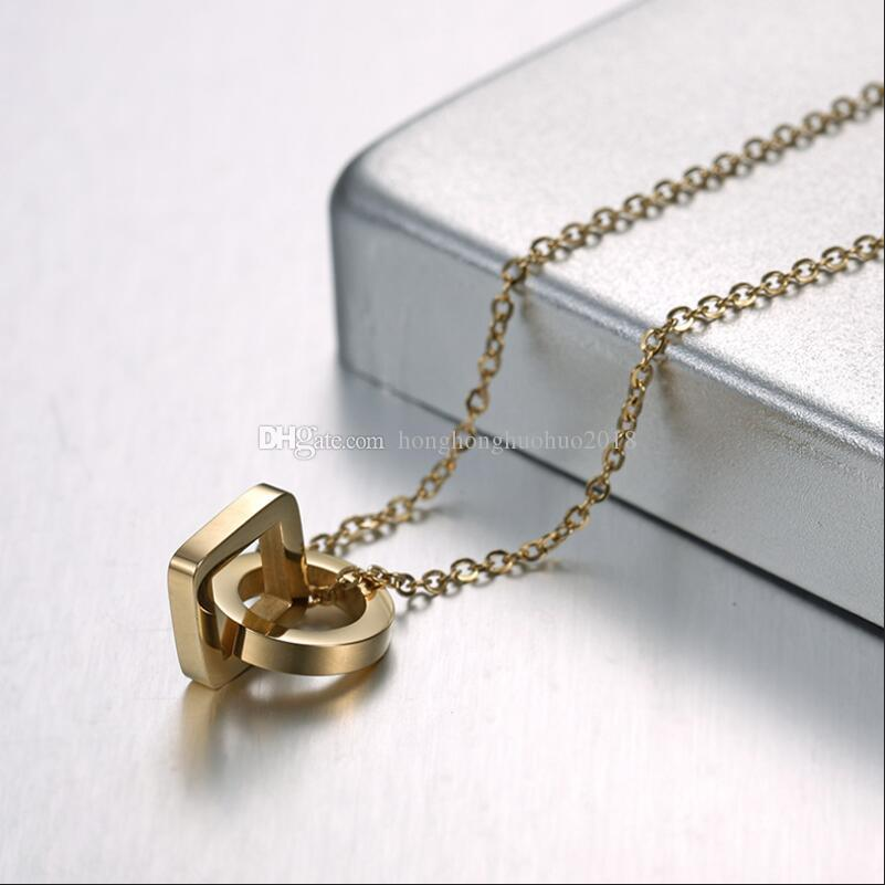 De haute qualité nouveau style or rose clavicule chaîne de la mode géométrique à double collier en acier de titane pendentif anneau femelle accessoire femelle luxe