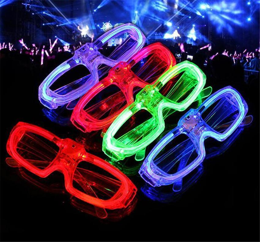 Christmas Led Cold Light Glasses Glowing Flash Party Glasses Light up Shades Rave Luminous Glass DJ Party Decor New Year Props EWD2081