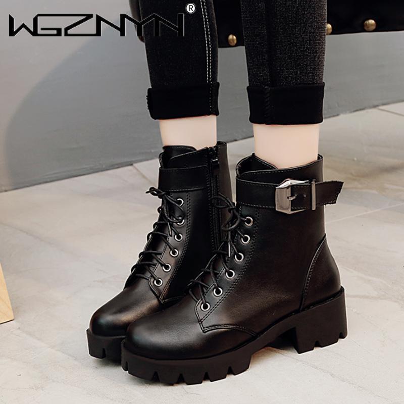 Nova moda Botas de couro mulher sapatos outono inverno quente lace-up tornozelo botas para a mulher de qualidade à prova d 'água