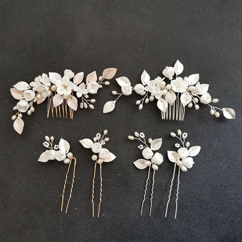 SLBRIDAL Handgemachte Kristallrhinestone Süßwasserperlen Blume Braut Haarkamm Haar Pin Set Hochzeit Haar Zubehör Frauen Schmuck W0104