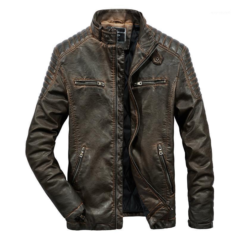 Giacca in pelle PU Rongge Mens Cappotto invernale uomo Bomber Giacche Cappotto di pelliccia Faux Men1
