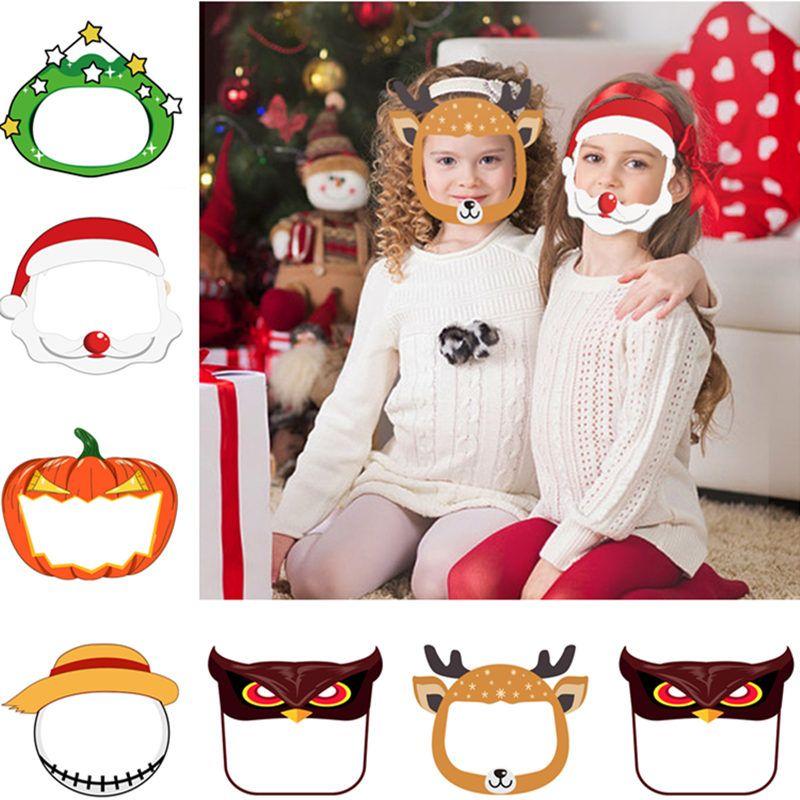Children Face Shield Halloween Transparent Mask Clear PET Reusable Anti Splash Christmas New Year Cartoon Protective Mask300pcs T1I2550