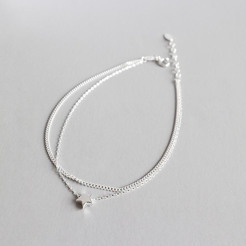 100% 925 Sterling Silber Stern Frau Knöchel Armbänder für Frauen, Niedliche Doppelschichtketten Fußklets Weibliche Fußschmuck
