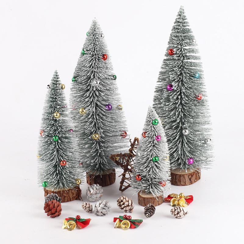 Mini árbol de navidad con Base de madera y bolas de colores de Inicio 2021 regalos de Año Nuevo Adornos de Navidad Papá Noel del árbol de Navidad SDF