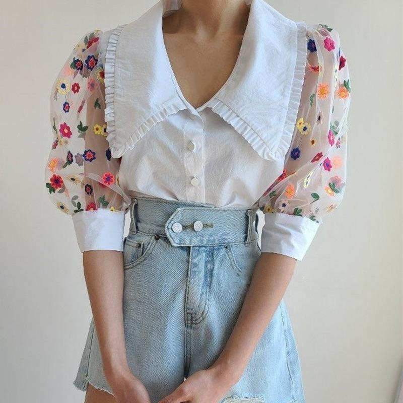 2021 Nueva Moda Verano Malla Bordado Little Daisy Shirt Woman Puff Funda Moschwork Extranjero Blusa