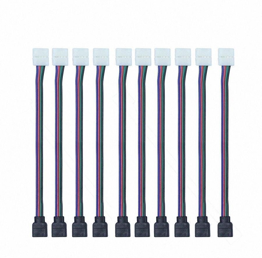 도매 10PCS / 부지는 3528에 대한 10MM RGB LED 커넥터 와이어 암 커넥터 케이블 4 핀 / SMD 비 방수 RGB LED 스트립 빛 oM7q 번호
