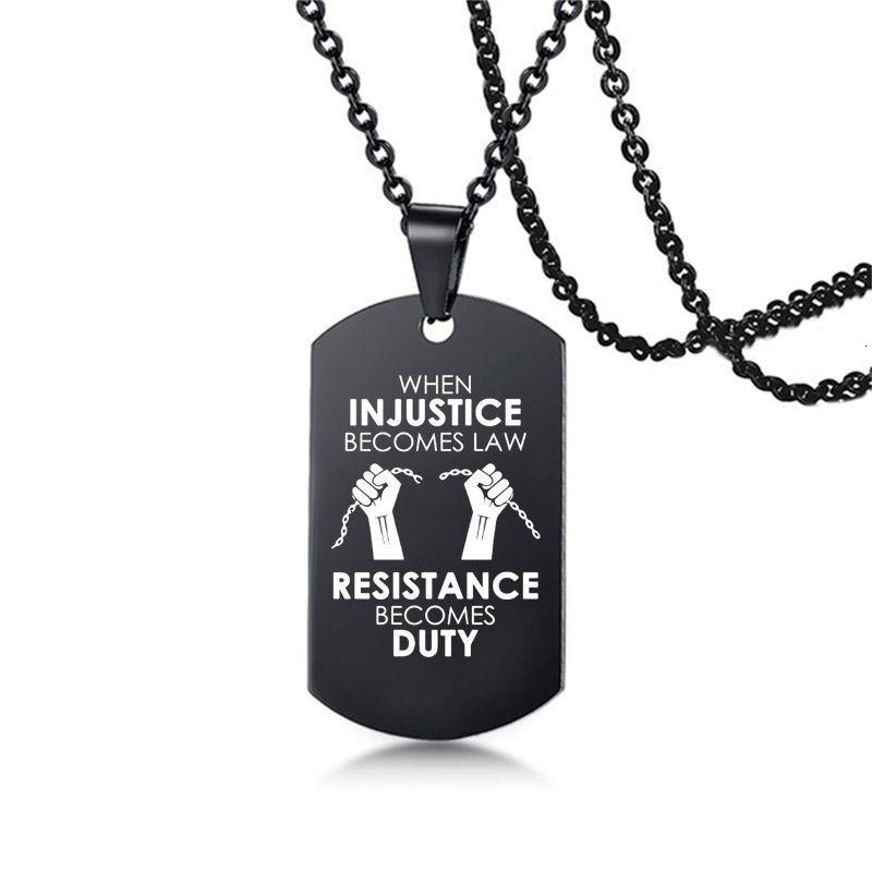 Steel Necklace Stainless Matter Pendant Hip-Hop Lives Protest Black Military Brand Necklaces Boy Jewelry Gifts