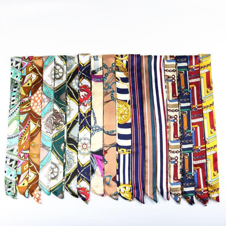 2020 maniglia nuova delle donne di seta piazza sciarpa legata Capelli Bag Sciarpa di seta del collo Sciarpe disegno stampato capo Fazzoletto Fashion Girl banda all'ingrosso
