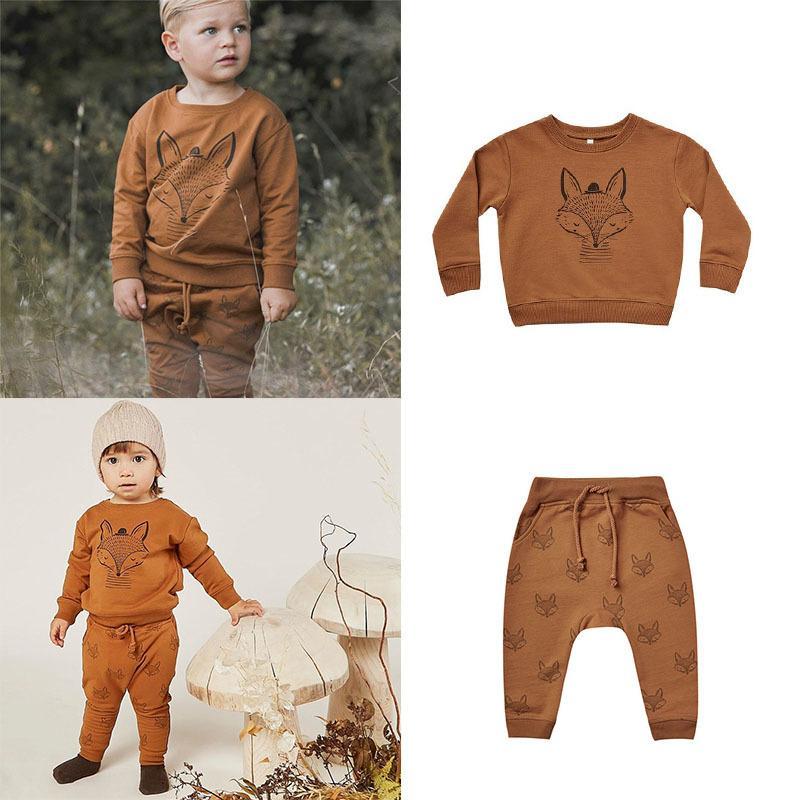 EnkeliBB Rylee y Cru niños Fox patrón Capucha Niños pantalones a juego de manga larga tapas ocasionales para el otoño invierno 1006 Ropa para niños