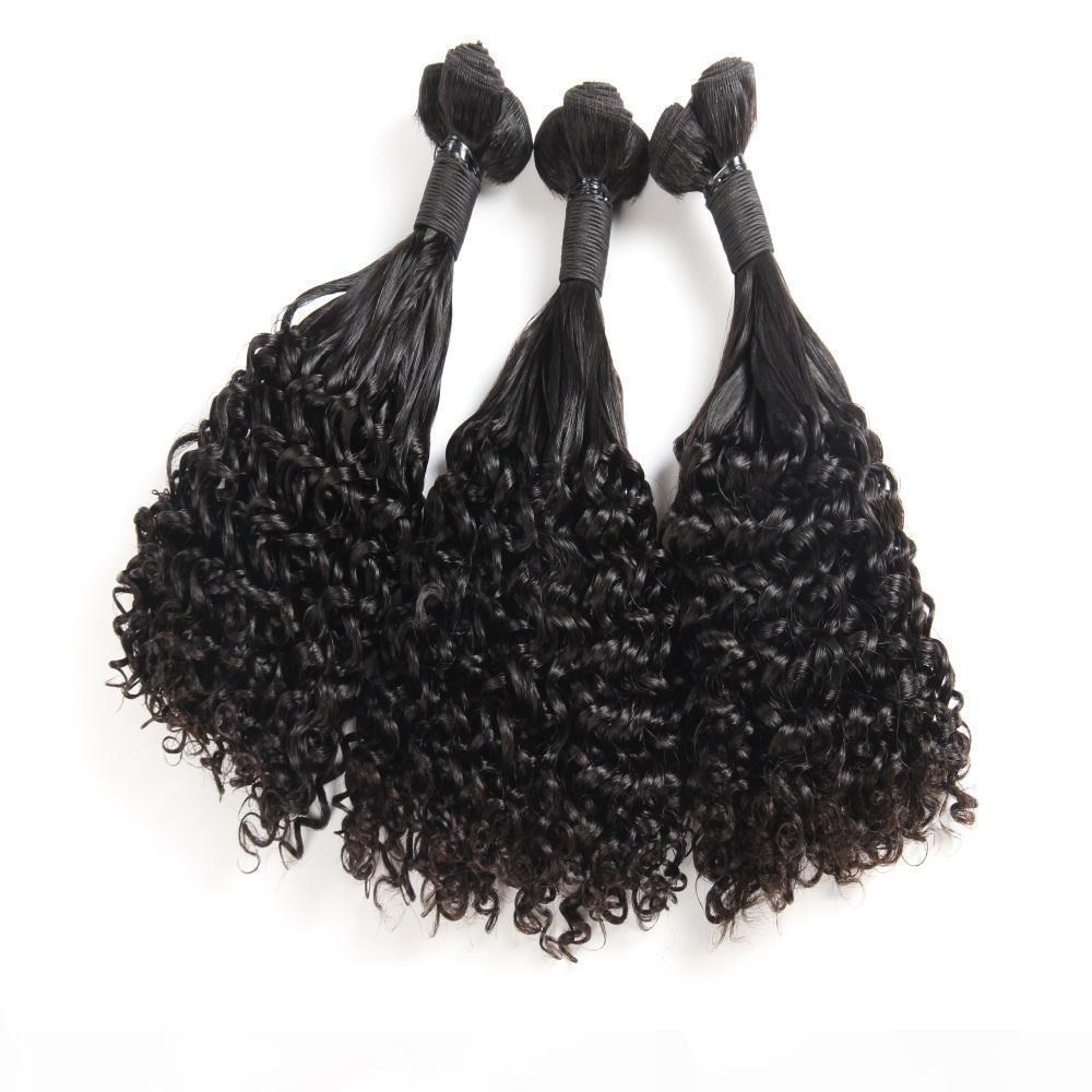 Funmi Hair Aunty Curly Wave Hair Extensions 브라질 탑급 처리되지 않은 인간의 머리카락 3 번들 자연 블랙 컬러 8-18inch