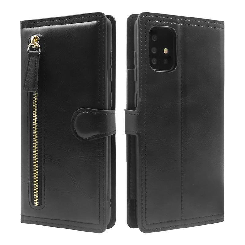 Funda telefónica de cuero con cremallera de billetera para iPhone12PRO XS MAX X 7 8 11 XR Funda telefónica para Samsungs20 S10