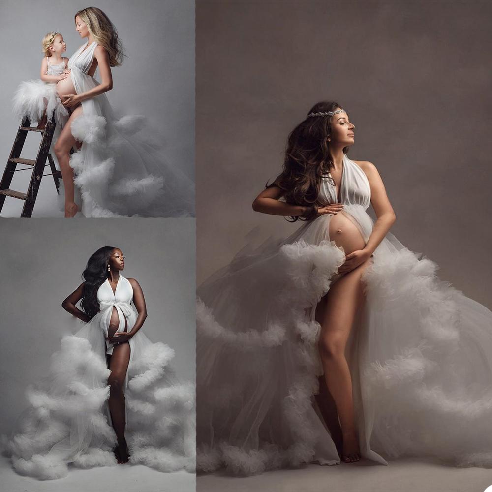 Seksi Halter Annelik Elbiseler 2020 Pregant Kadınlar Abiye giyim Artı Boyutu Katmanlı Fırfır Photoshot Elbise Vestido De Novia