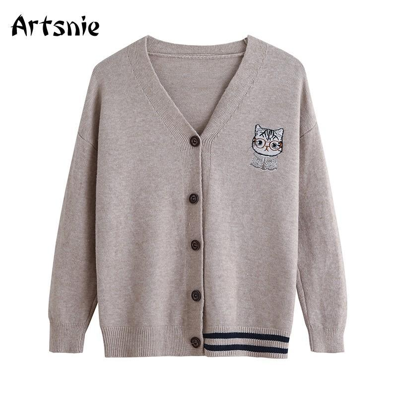 Artsnie Cartoon Stickerei Grau Strickjacken Frauen-Winter-V-Ausschnitt Langarm Sweater Pull Femme Hiver Preppy Warm Cardigans Pullover
