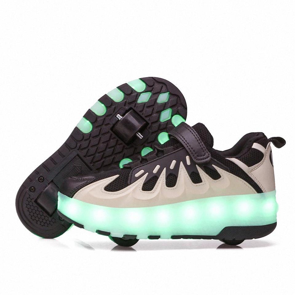 EUR28-40 Iki Sneakers Tekerlekli USB Şarj Parçalama LED Işık Light Up 2020 Rulo Paten Tekerlekler Ayakkabı BoysGirls Terlik # 3H4L