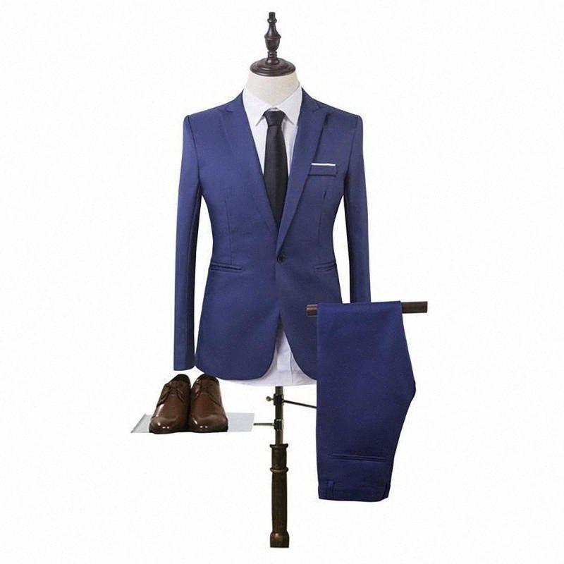 2020 2020 Novos Negócios Blazer + terno de calças Define Homens Outono Moda Sólidos Magro Wedding Set Vintage Clássico Blazer masculino HVAU #