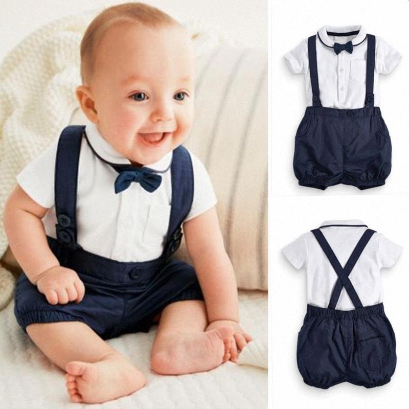 Ropa de verano para niños pequeños Baby Boy Boys Ropa Caballero Traje Bow Tie T-shirt Tops + Shorts Sólidos Overlaje Trajes Ropa Boy Set 65ls #