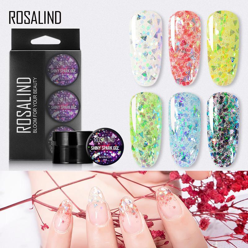ROSALINDA brillante chispa Gel Esmalte de uñas Set Todo para manicura Nail Art Platino Gel Semi Permanente 5ml híbrido Barnices Kit