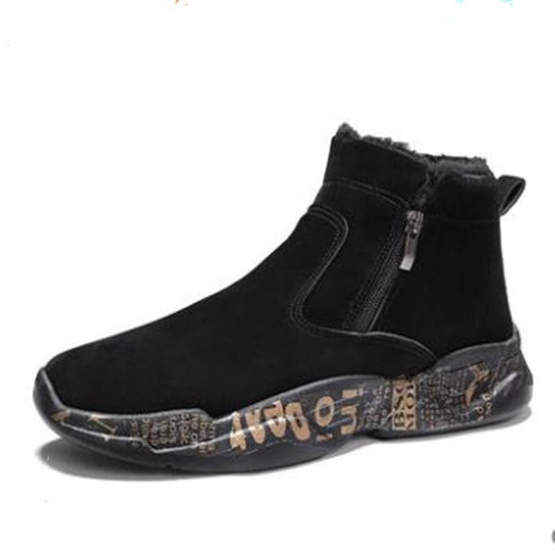 2020 Мужской Зимней мода Теплого Снег сапоги Обувь Удобного Открытый Мужчина Покрытие Рабочих кроссовки Коротких сапоги Размер 39-44