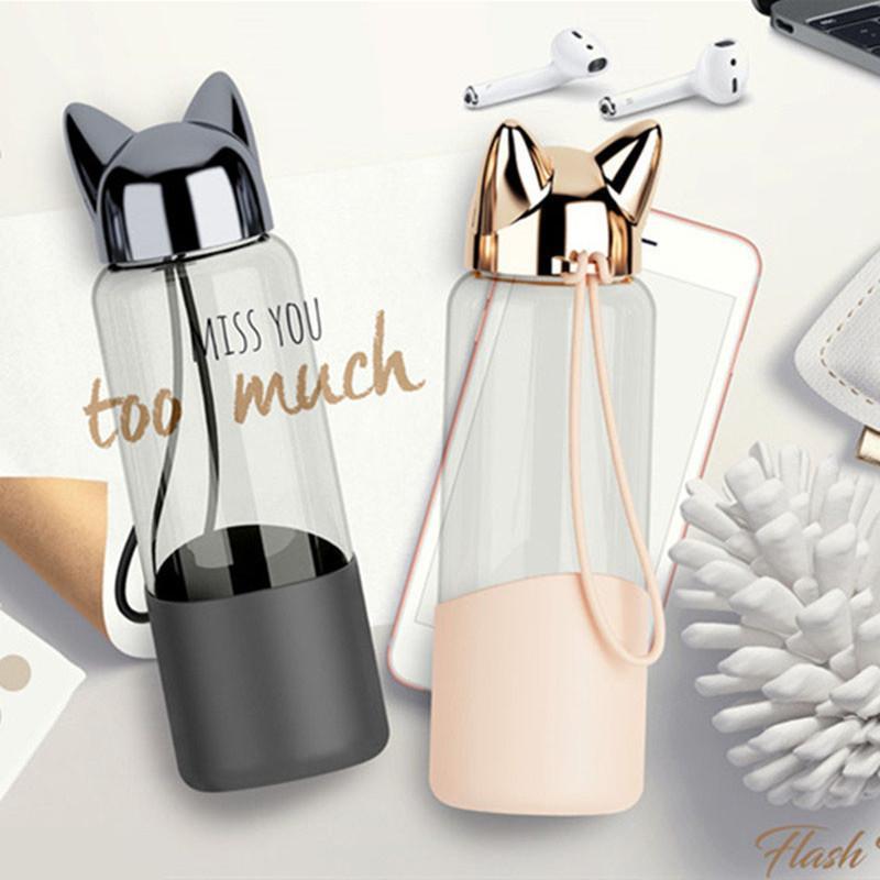 350 ml Flash criativo raposa garrafa de água com corda bonito dos desenhos animados portáteis portáteis exteriores de vidro bebendo tampa de isolamento Y200106