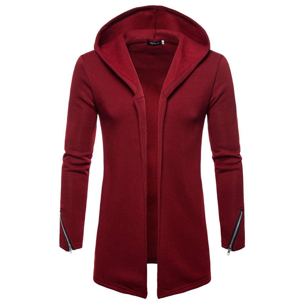 Erkek giyim sonbahar ve kış 2020 yeni kazak rahat düz renk orta uzunluk uzun kollu kapüşonlu hırka