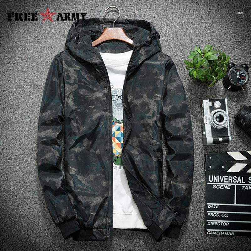 Frearmy Men's Camo con capucha Spring Otoño Chaquetas Streetwear Streetwear Outerwear Casual Outdoor Sport Hombres Ropa MS-Y0041