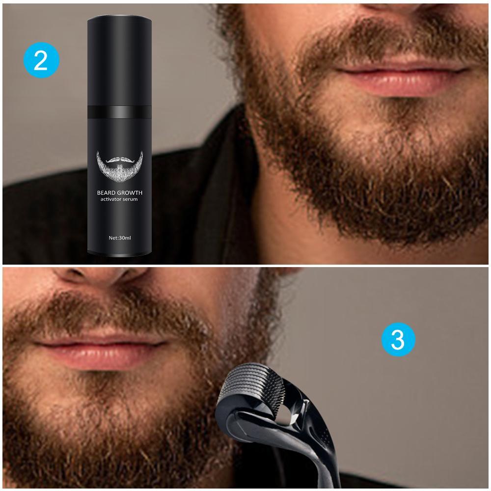 4шт / комплект Борода роста Kit роста волос Enhancer вязкое масло Питательный Essence несмываемый кондиционер Борода Уход за волосами ToolsRab