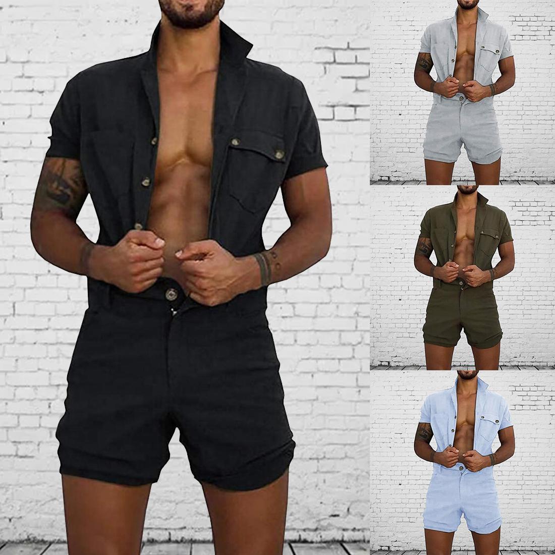 NOUVEAUX Hommes Combinaisons Casual Casual revers Sleeve Sleeve Rompes Solid Globalement One-Pio-Pièce Combinaison Poche Été Vêtements Male Plage Lj201125