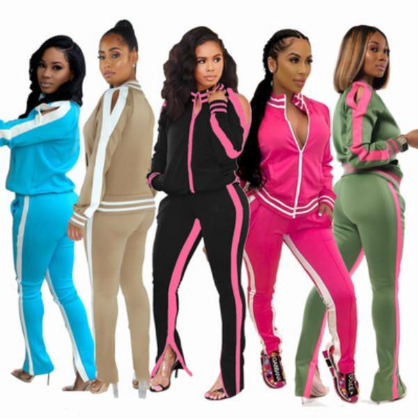 Kadınlar eşofman için Özel Logo Güz Giyim Kapalı Omuz Çizgili Fermuarlar Eşofman Bayan 2 Adet Kıyafet Eşofman
