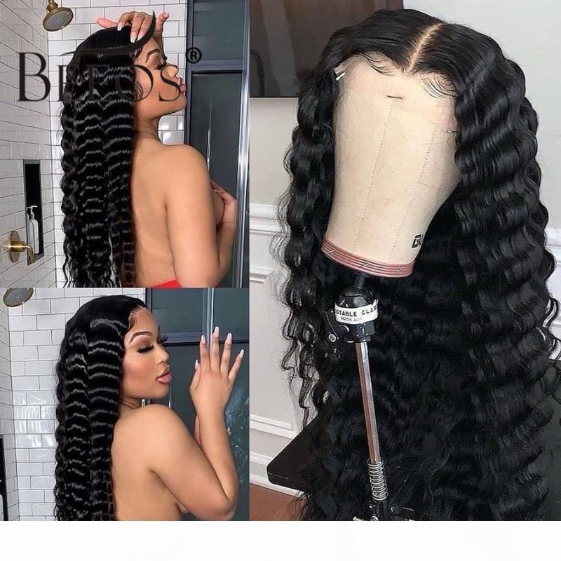 Görünmez HD 13 * 6 Dantel Ön İnsan Saç Peruk Doğal Renk Derin Dalga Şeffaf Dantel Öncesi Pullu Ağartılmış Knot Brezilyalı Remy